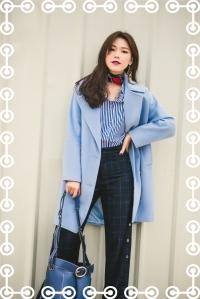 藍色大衣、藍白條紋、西裝褲