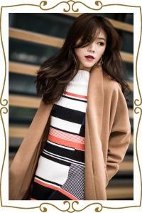駝色大衣、條文、連身裙